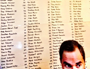 Behind my friend Ryan is a list of names of those who completed the Mega Mel Challenge.