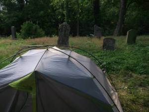Sometimes your only option for a campsite is in an old cemetery