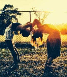 Bethany and I having yogi fun at sunset at the festival.