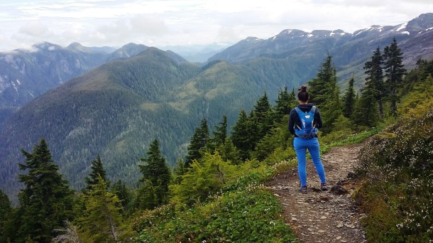petite hiker in alaska