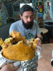 Eating a burrito at Big City Burrito