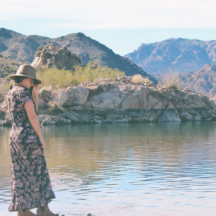 wearing a vintage dress in Nevada